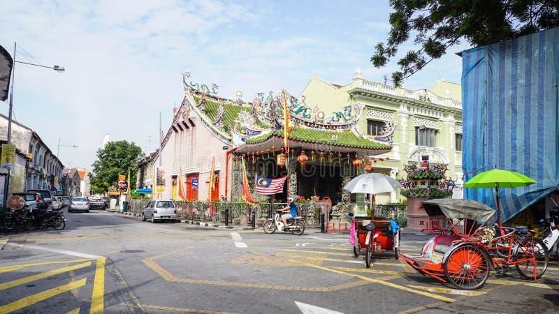 中国寺庙的看法在乔治城在槟榔岛,马来西亚 免版税库存图片