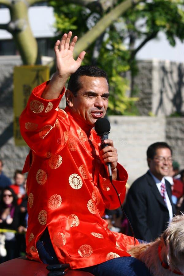 中国市长新的游行villaraigosa年 免版税图库摄影