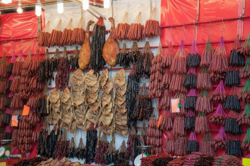 中国干燥香肠和的鸭子 库存图片
