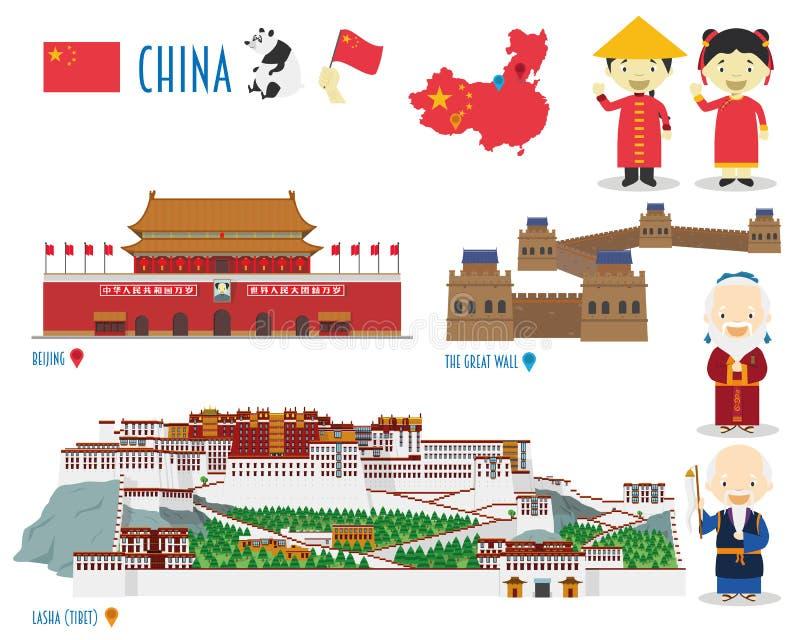 中国平的象集合旅行 纪念碑和地标 向量例证