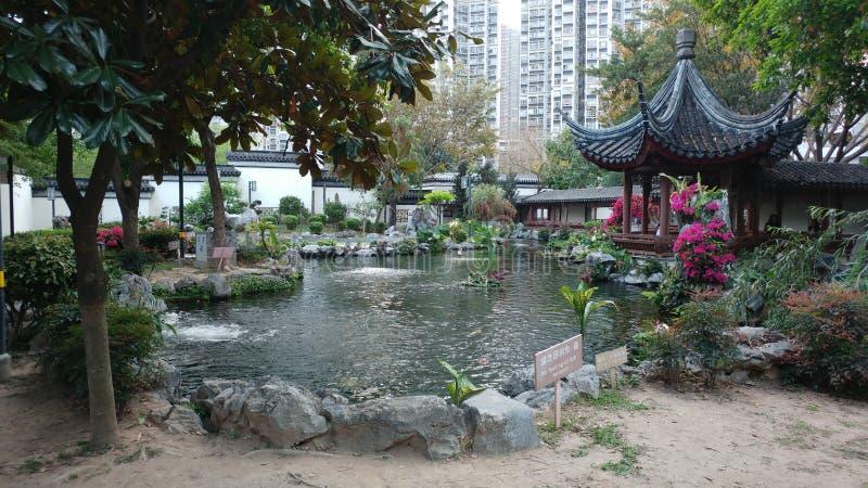 中国庭院在春天,风景的图象 库存图片