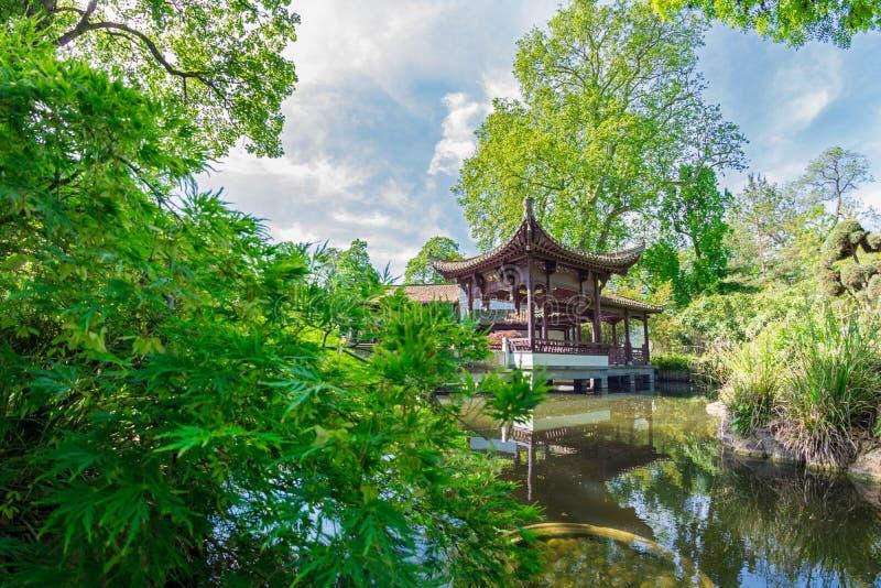 中国庭院在法兰克福 免版税库存照片