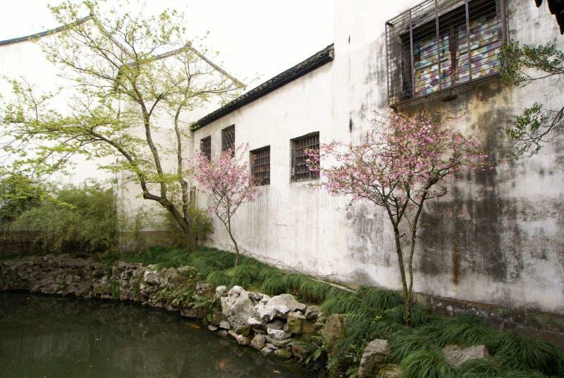 中国庭院苏州墙壁白色 库存图片
