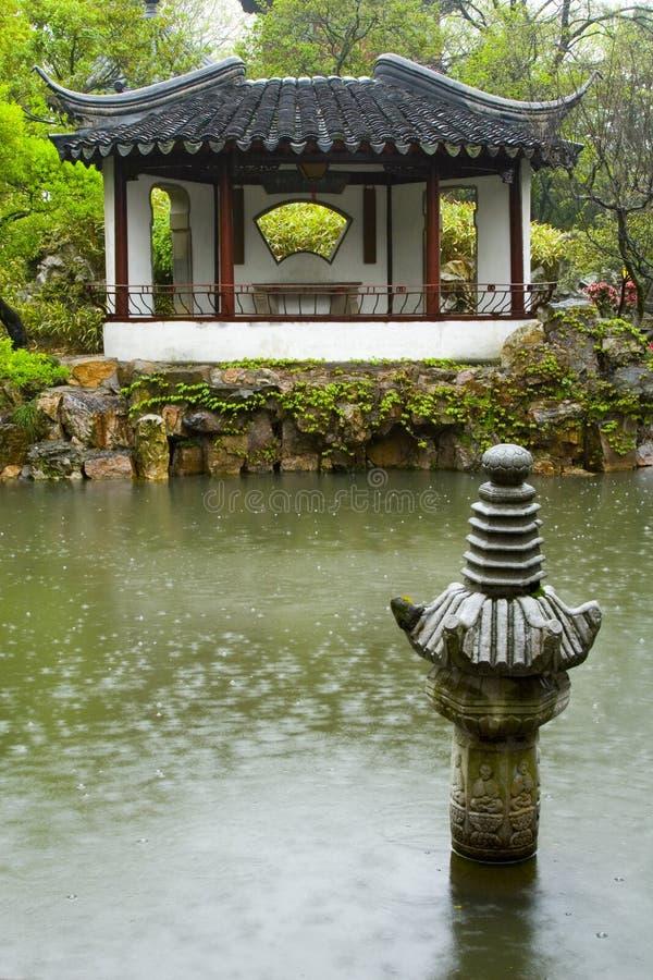 中国庭院雨 库存图片