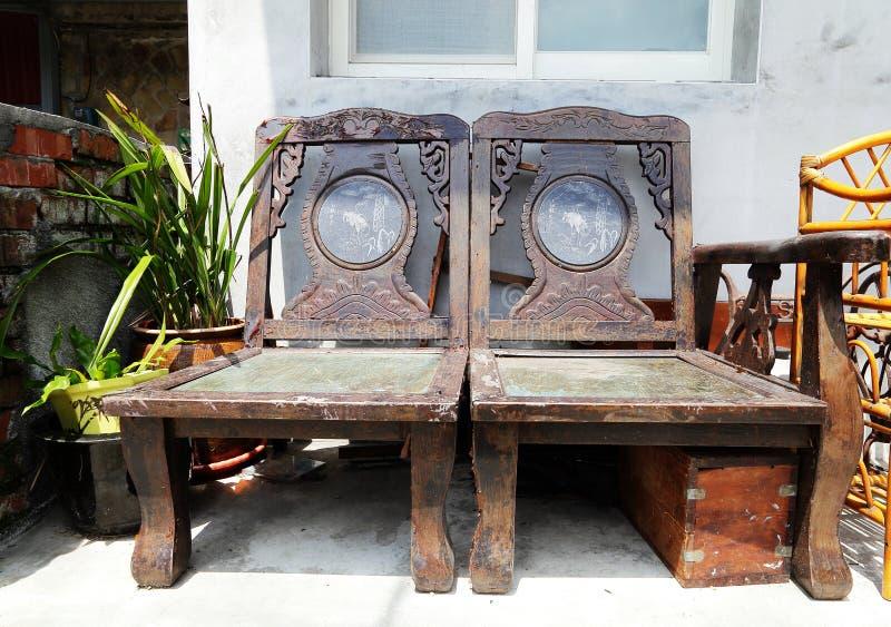 中国式古老木椅子 库存照片