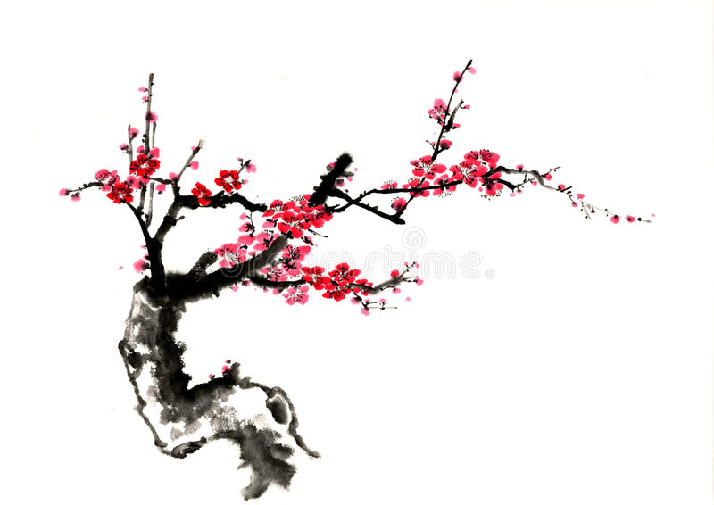 中国式图画,剪影,李子花 免版税库存照片