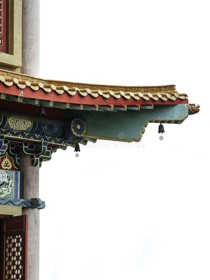 中国式房檐,屋顶的零件,隔绝在白色backgroun 库存照片