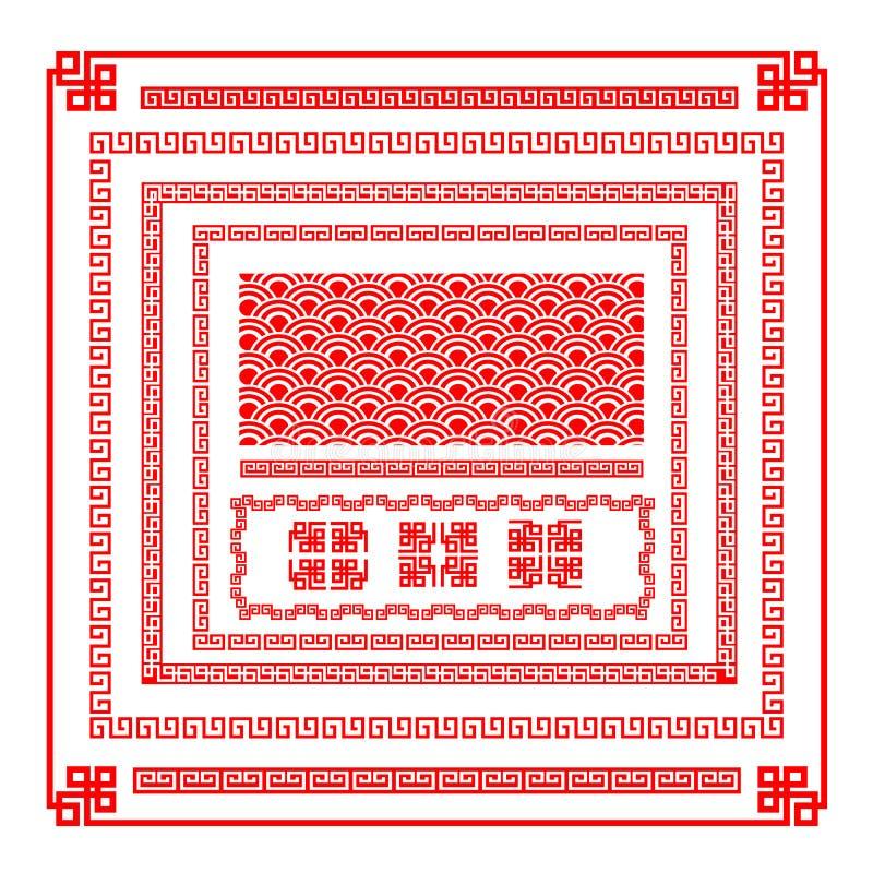 中国式边界设计传染媒介illust的装饰元素 库存例证