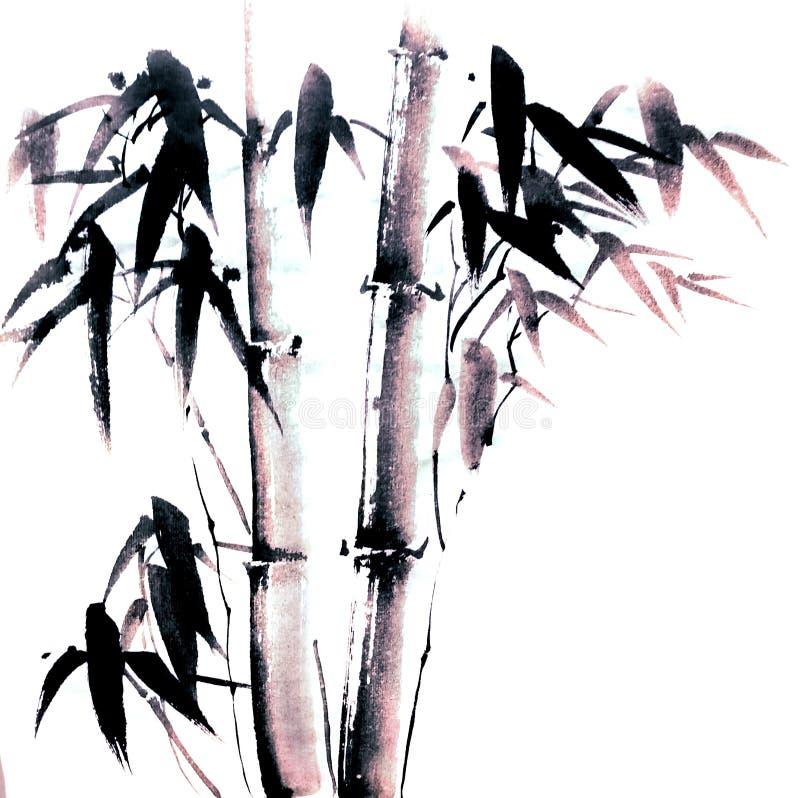 中国或日本墨水绘的竹子 皇族释放例证