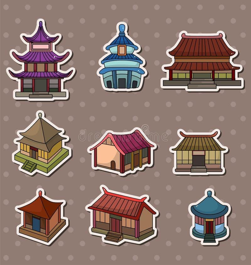 中国房子贴纸 库存例证