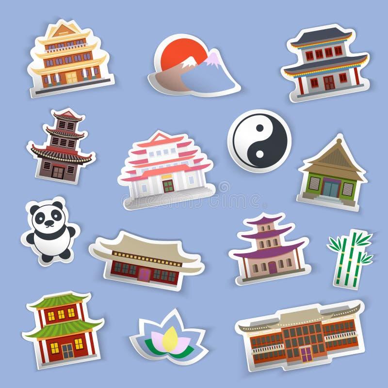 中国房子贴纸 皇族释放例证