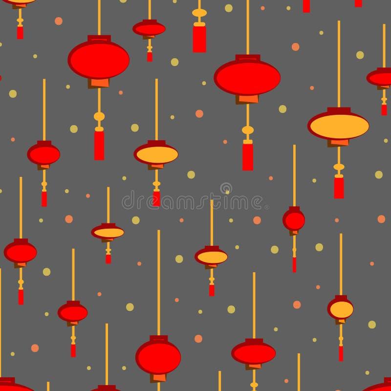 中国手电无缝的样式-在金背景的手拉的红色和白光 说明的invita传染媒介样式 皇族释放例证
