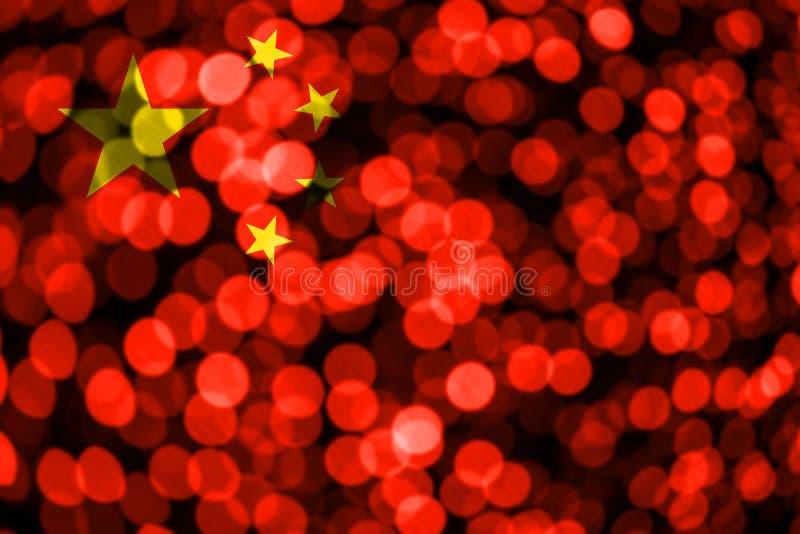 中国抽象模糊的bokeh旗子 圣诞节、新年和国庆节概念旗子 向量例证