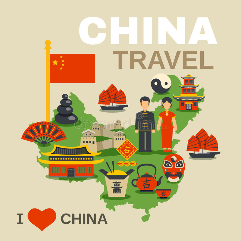 中国文化传统旅行社海报 向量例证