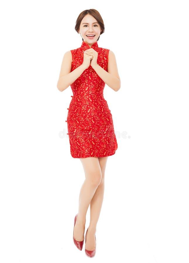 中国新年好 有祝贺的美丽的亚裔妇女 免版税库存图片