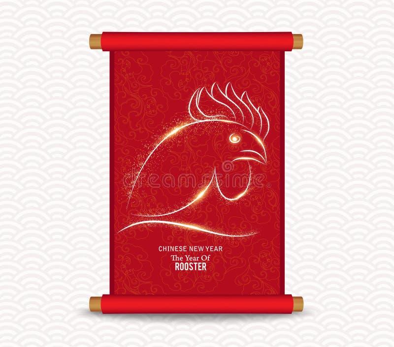 中国新年度 传统中国handscroll的绘画 向量例证