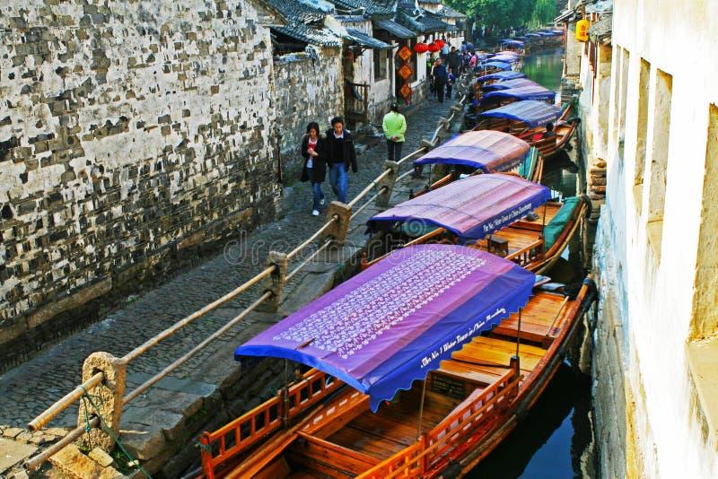 中国旅游业:周庄古老水镇 图库摄影