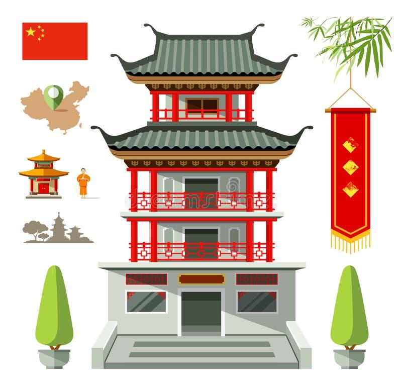 中国旅行设计传染媒介大厦  向量例证