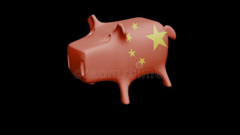 中国旗子存钱罐3D回报 库存例证