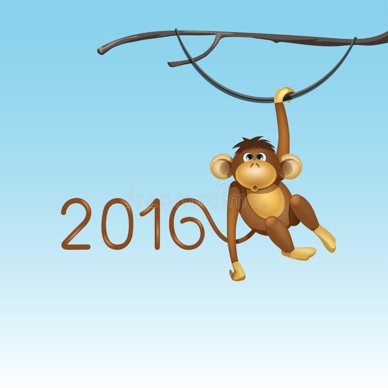 2016年中国日历猴子圣诞卡传染媒介的新年快乐 向量例证