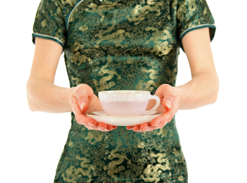 中国杯子礼服提供的茶妇女 图库摄影