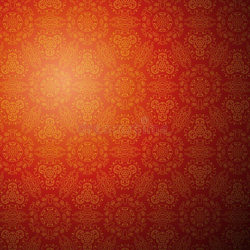 中国样式背景。无缝的墙纸 皇族释放例证