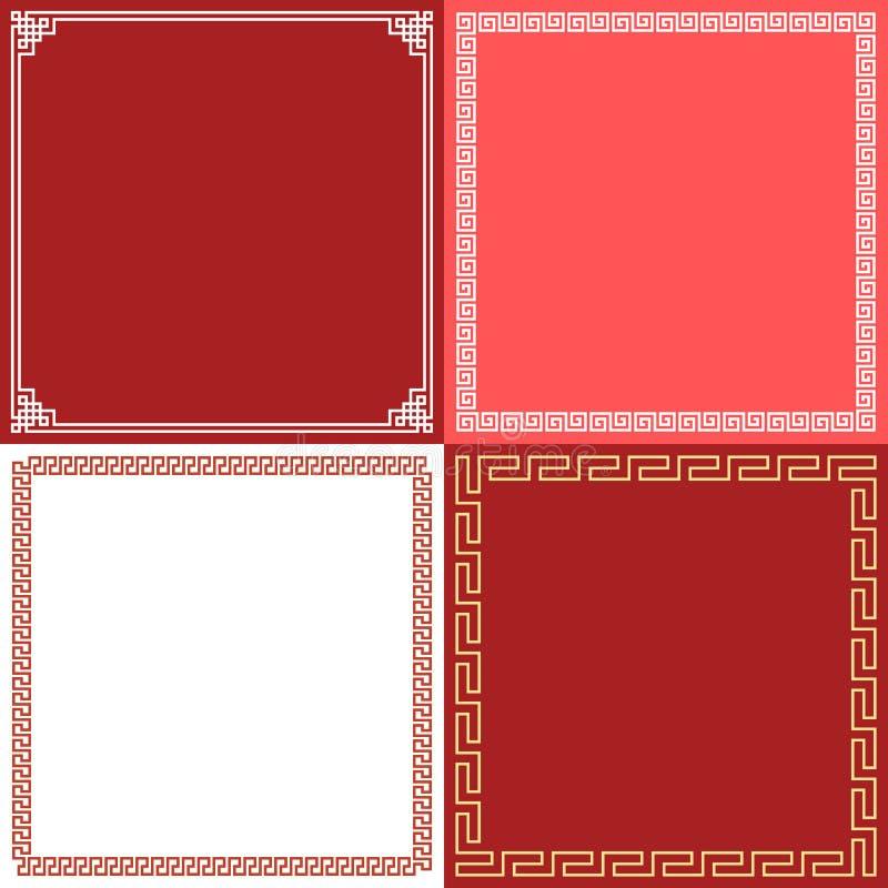 中国框架在各种各样的样式 向量例证