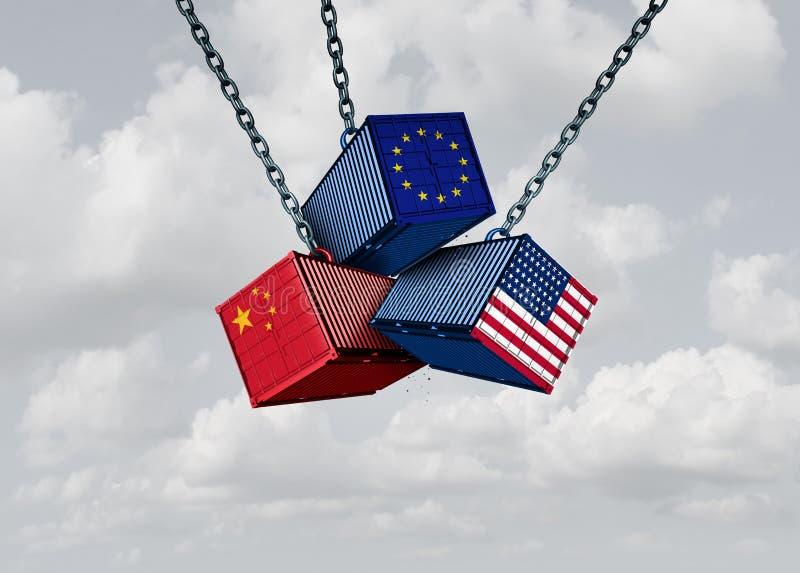 中国欧洲美国贸易战 向量例证