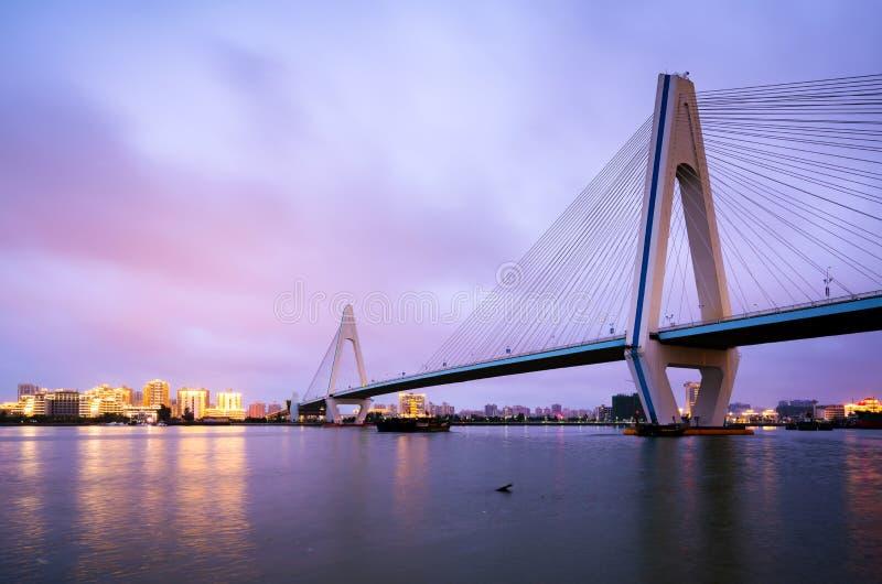 中国海口世纪桥梁夜 免版税库存图片