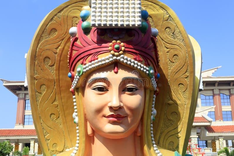 中国海女神mazu的雕象,多孔黏土rgb 免版税库存图片