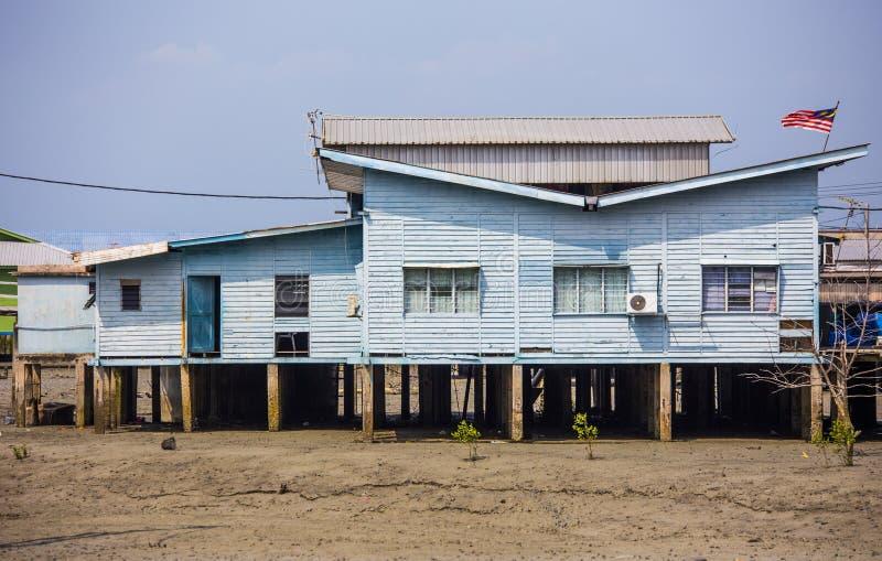 中国渔村的高跷房子在巴生雪兰莪马来西亚附近的Pulau Ketam 库存图片