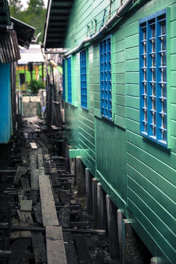 中国渔村的高跷房子在巴生雪兰莪马来西亚附近的Pulau Ketam 免版税图库摄影