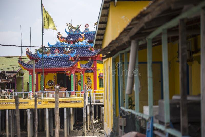 中国渔村的高跷房子在巴生雪兰莪马来西亚附近的Pulau Ketam 库存照片