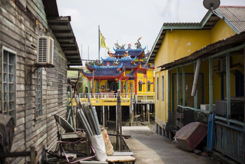 中国渔村的高跷房子在巴生雪兰莪马来西亚附近的Pulau Ketam 免版税库存图片