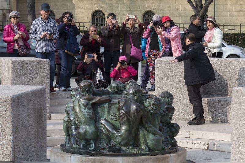 中国游客在萨格勒布,克罗地亚 库存照片