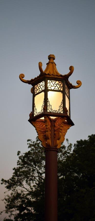中国灯具晚上天空 免版税库存照片