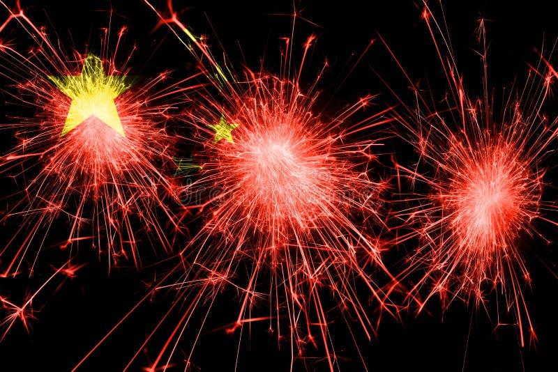 中国烟花闪耀的旗子 新年、圣诞节和国庆节概念 库存例证