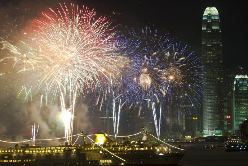 中国烟花香港新年度 免版税库存图片