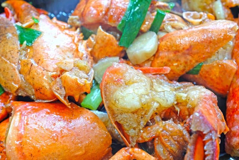 """中国烹调†""""油煎了龙虾用姜和中国葱 免版税库存照片"""