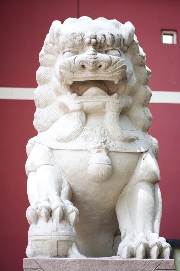 中国狮子雕象 免版税库存图片