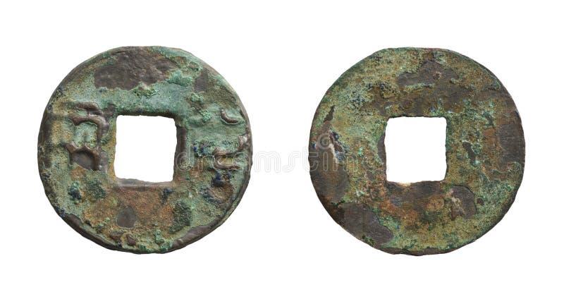 中国生锈硬币朝代老的qin 库存照片