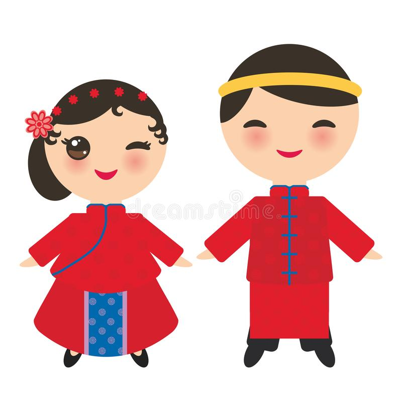中国男孩和女孩全国服装和帽子的 传统中国礼服的动画片孩子 背景查出的白色 Vecto 向量例证