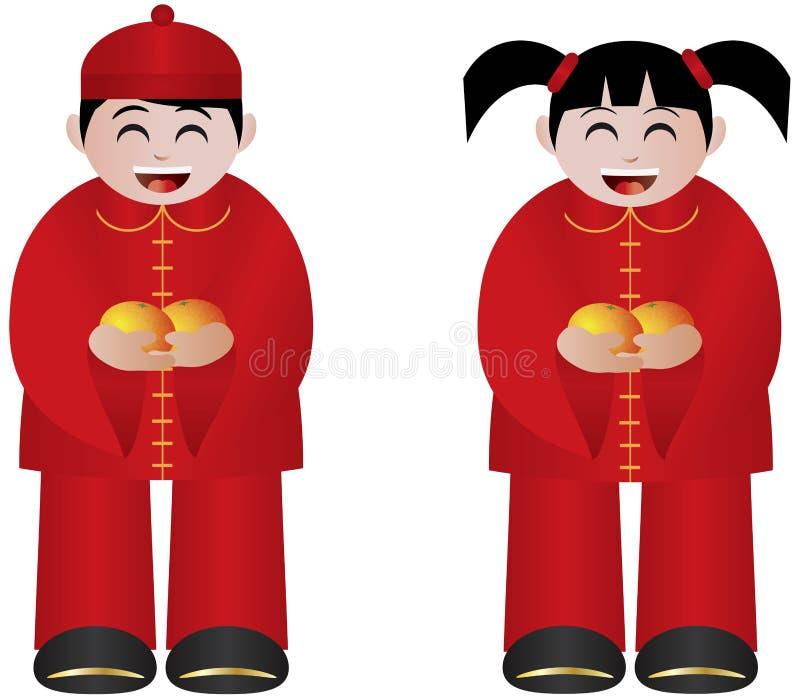 中国男孩和女孩用橘子 库存例证