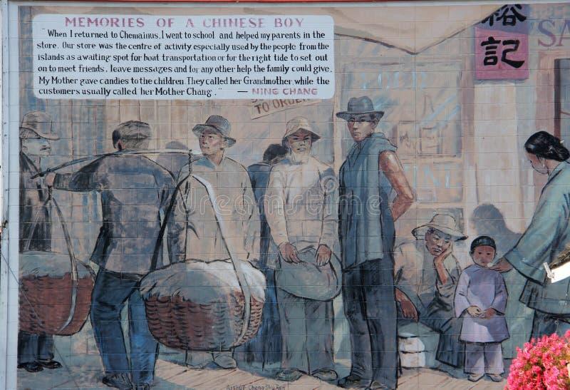 中国男孩故事, Chemainus, BC壁画的记忆 免版税库存图片