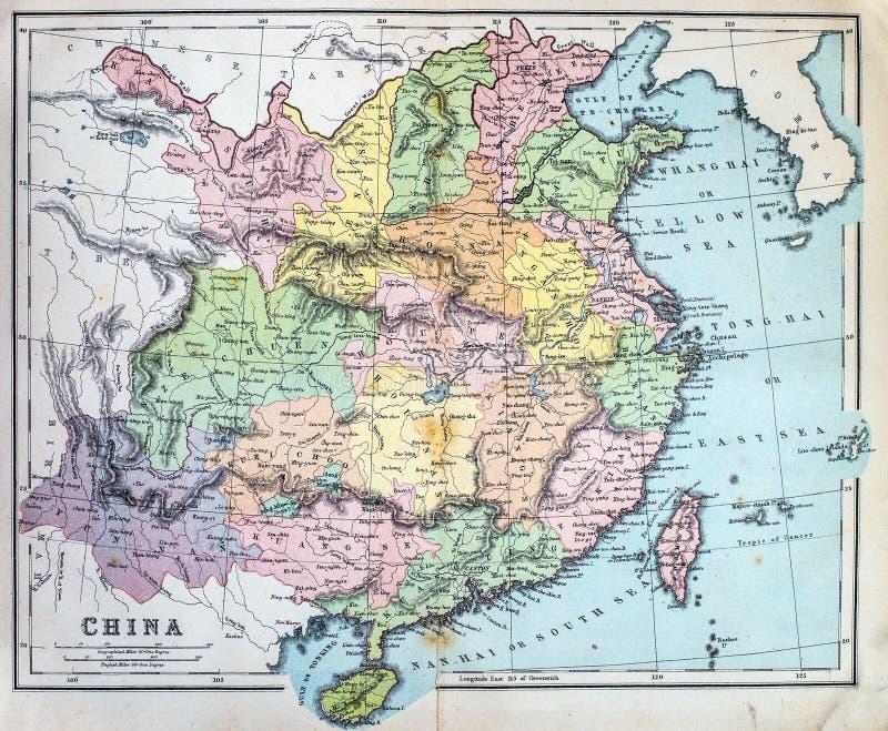 中国的古色古香的地图 库存照片