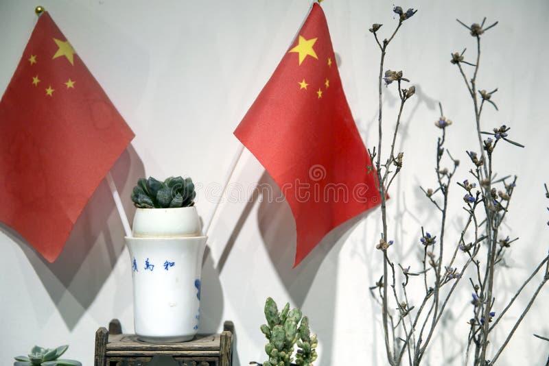 中国的国庆70周年装饰物 库存照片