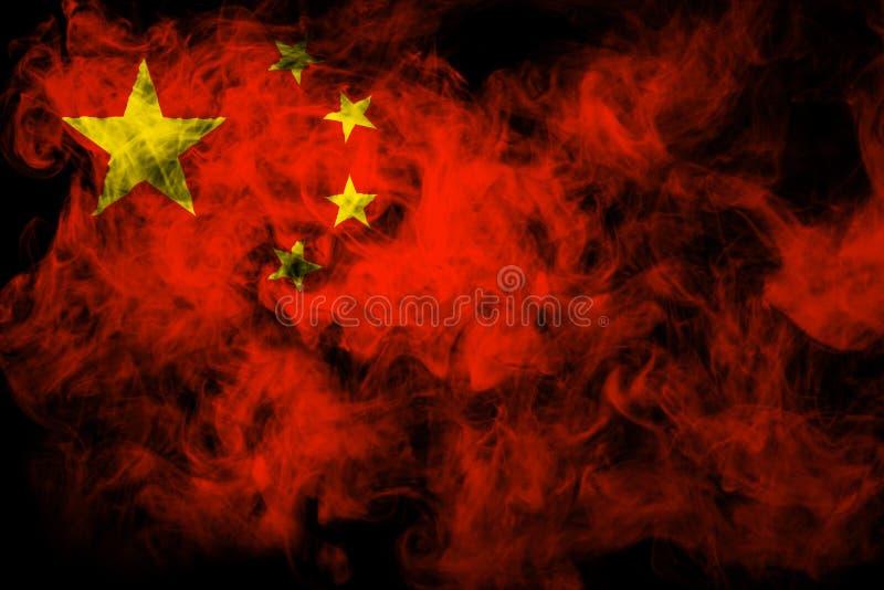 中国的国旗从厚实的彩色烟幕的 皇族释放例证