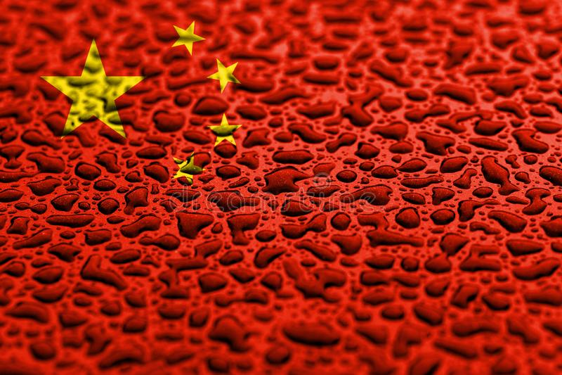 中国的国旗做了水下落 背景展望概念 库存例证