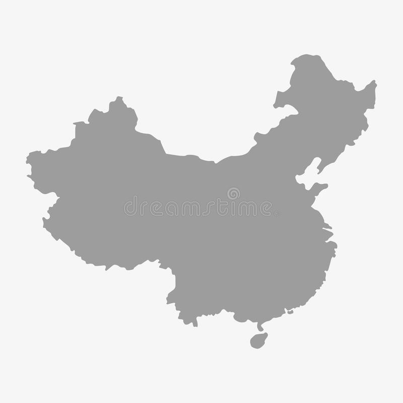 中国的地图灰色的在白色背景 库存例证