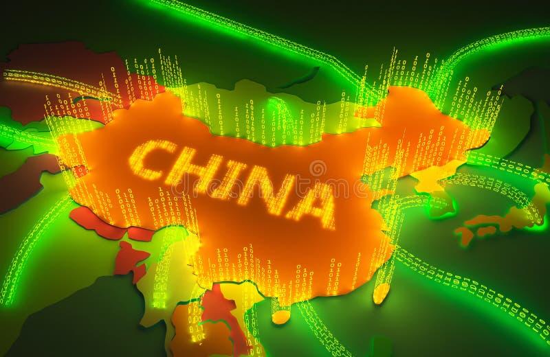 中国的地图由一个二进制防火墙surronded 皇族释放例证